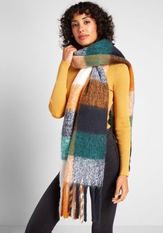 Snuggle Report Plaid Scarf - When you wrap this cozy plaid scarf around your shoulders or over a dress, the cozy feeling never ends. Contrasting green, yellow, white, and blue hues and fuzzy fringe pair well with tall boots for chic cold weather style. Cold Weather Fashion, Winter Fashion, New Arrival Dress, Retro Outfits, Cashmere Scarf, Snuggles, Womens Scarves, Plaid Scarf, Bag Accessories