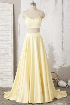 5151852c29 Yellow Two-Piece Halter Lace Satin Long Prom Dress with High Slit 579 from  Prettyqueenprom. Yellow Prom DressesIndian Prom DressesYellow Formal ...