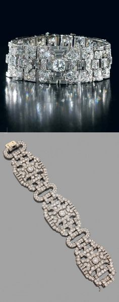 Lacloche Frères - An important Art Deco platinum and diamond bracelet, French, circa 1920. Signed LACLOCHE Fr., and numbered. #Lacloche #ArtDeco #bracelet