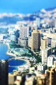 a tilt-shift photo taken in Monaco