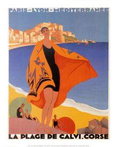 La Plage de Calvi Art Print - bold colors, blocking, layout