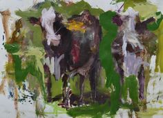 Original Abstract Holstein Cow Painting Farm Animal by painthog