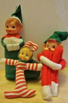 Vintage Christmas Knee Hugger Elf and Plastic Face Elves Pixie Stocking Ornament | eBay