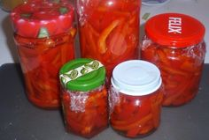 paprikasäilyke - Kotikokki.net - reseptit Salsa, Jar, Food, Red Peppers, Essen, Salsa Music, Meals, Yemek, Jars