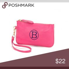"Hot Pink Mini Wristlets Does not include monogram. 7.5"" L X 4.25"" H. Leather like material. Inside lining hot pink Ikat pattern. Detachable wristlet. Zipper closure WB Bags Clutches & Wristlets"