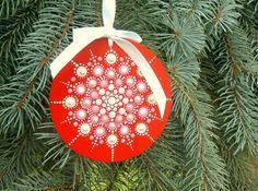 Mandala Christmas tree ornament 3.75 round hand painted