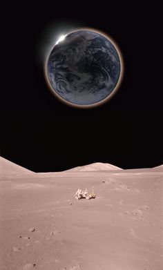 Solar eclipse, as seen from the moon.