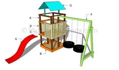 This step by step project is about outdoor playset plans. Building a wooden playset for your backyard is an easy and fun woodworking projects that can be done in a weekend. Build A Playhouse, Wooden Playhouse, Playhouse Outdoor, Simple Playhouse, Playhouse Ideas, Cool Woodworking Projects, Woodworking Plans, Woodworking Machinery, Swing Set Plans