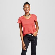 Women's Short Sleeve Relaxed V-Neck Tee Red XL - Mossimo Supply Co.