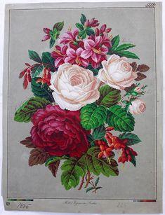 Large Hertz Wegener Antique Berlin Woolwork Pattern Chart Tapestry Embroidery | eBay
