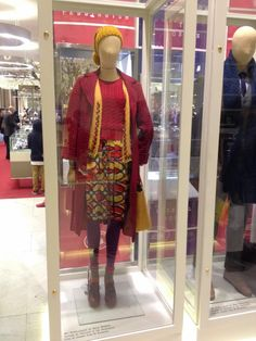 Mrs Brown (played by Sally Hawkins) outfits from the Paddington Bear Movie, in Selfridges, London