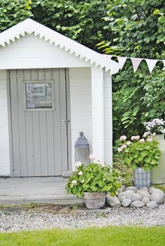 by VIBEKE DESIGN - maybe a bit of wooden bunting on my potting shed would look cute Garden Cottage, Home And Garden, Vibeke Design, Wendy House, Shed Colours, Colors, She Sheds, White Gardens, Garden Structures