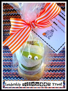 """Leader Halloween Treats - """"Thanks for 'Wrapping' Yourself up in the Lord's Work...You are doing a 'boo-tiful' job"""" - homemade caramel & topping included in little jar"""