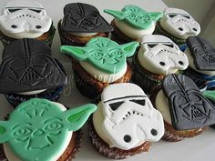 stamped into fondant using williams-sonohttp://pinterest.com/search/?q=star+wars#ma cookie cutters  - there are lots of Star Wars cupcake ideas on this site.