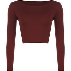 Womens Crop Long Sleeve T Shirt Ladies Short Plain Round Neck Top -... ($5.31) ❤ liked on Polyvore featuring tops, wine top, round neck crop top, cut-out crop tops, red crop top and short tops