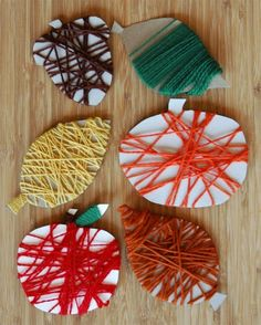 k Fine Motor Fall Yarn Wrapping. Great toddler, preschool or elementary activity to promote fine motor and sensory development. Perfect for a fall or autumn theme unit. Kids Crafts, Easy Fall Crafts, Fall Crafts For Kids, Preschool Crafts, Autumn Activities For Kids, Winter Craft, Toddler Crafts, Daycare Crafts, Classroom Crafts