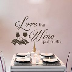 Removable Wall Decal Sticker Wine Glass Mural Wallpaper Grape Wall Decor Vinyl Sticker Quotes Love the Wine Youre WithXLargeCustom * Find out more about the great product at the image link.