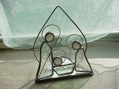 Vtg-Christmas-Nativity-Stained-Etched-Glass-Suncatcher-Candleholder-5-inch