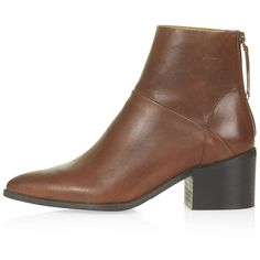 TopShop Midnight Leather Zip-Back Boots ($37) ❤ liked on Polyvore featuring shoes, boots, ankle booties, topshop, tan, tan leather booties, tan leather ankle booties, topshop booties, pointed booties and pointy toe booties