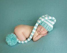 Baby Hat Crochet Infant Hat Newborn Pom Pom by VioletsPlayground