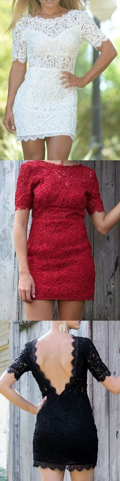 Love the entire look of the lace mini dresses..perfect for fall and winter