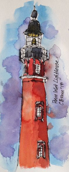 Ponce Inlet Lighthouse, Port Orange FLA C.Breen Pen And Watercolor, Watercolor Paintings, Original Paintings, Lighthouse Painting, Coastal Art, Urban Sketching, Art Lessons, Art Drawings, Ponce Inlet