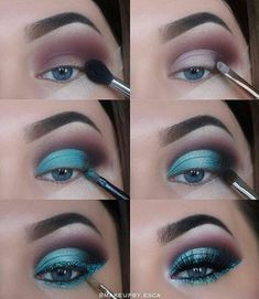 The Ultimate Full-Face Drugstore Makeup Guide For Beauty Addicts - Schminke - Eye Make up Eye Makeup Steps, Natural Eye Makeup, Natural Eyes, Blue Eye Makeup, Makeup With Glitter, Sparkle Makeup, Blue Makeup Looks, Sleek Makeup, Glitter Hair