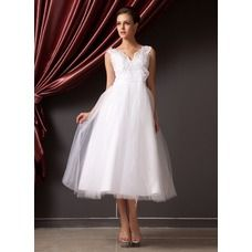 [US$ 142.99] A-Line/Princess V-neck Tea-Length Organza Tulle Wedding Dress With Lace Flower(s) (002014240)