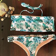 8af21b1c39 Leaves Print Bandeau Bikini Set Push Up Swimsuit