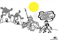Don Quijote y Forges, una combinación perfecta. Varias viñetas pinchando en la foto.