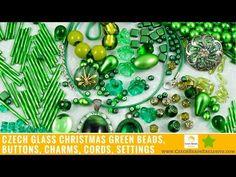 Video! GREEN Christmas  Czech Glass Beads, Buttons, Charms, Cords, Settings     #dawanda #dawanda_de #dawandashop #etsy #etsyshop #etsystore #etsyfinds #etsyseller #amazon #amazondeals #alittlemercerie #green #greenbeads #greendesign #greenjewelry #greenbutton #greenpattern #czechbeads #glassbeads #czechglassbeads #czechglassjewelry