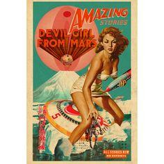 Serie de 7 collage creada con imágenes de cómics de ciencia ficción de los años cincuenta , que desde su origen tiene una carga sexual fuerte.