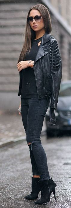 #streetstyle #fashion  Black Spikes And Cuts Outfit   Johanna Olsson