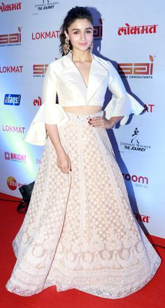 Alia Bhatt Redefines Ethnic Chic In Abu Jani And Sandeep Khosla's Glam Ensemble - I am in the class Source by - Indian Wedding Outfits, Bridal Outfits, Indian Outfits, Indian Weddings, Designer Party Wear Dresses, Indian Designer Outfits, Indian Fashion Trends, Lehnga Dress, Lehenga Blouse