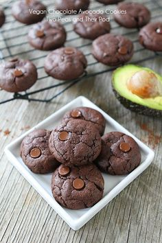 Feeling like dessert, without all the guilt? Try these Vegan Chocolate Avocado Cookies 1 1/4 cups all-purpose Gold Medal flour 1 teaspoon baking powder 1/2 teaspoon sea salt 2/3 cup Dutch processed cocoa 1/4 cup coconut oil 1/4 cup mashed avocado 1/4 cup granulated sugar 1/2 cup brown sugar 1 teaspoon vanilla extract 1/3 cup almond milk 1/2 cup vegan chocolate chips