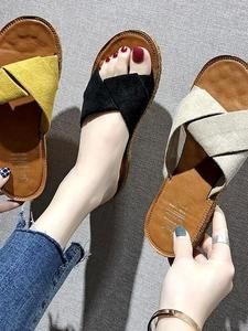 Womens Metal Slide Sandals Round Head Thick Bottom Wedge Shoes Non-Slip Flats Casual Platform
