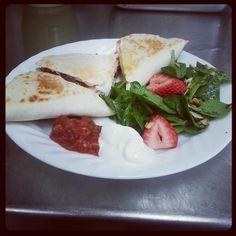 Club Quesadillas w/ Spinach Salad!! :D
