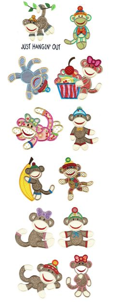 Embroidery   Free Machine Embroidery Designs   Sock Monkeys Applique