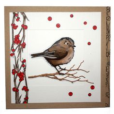 This is the gorgeous new 'Garden Birds' set designed by Sharon Bennett for Hobby Art. Card by Charry Wijers Bird Cards, Xmas Cards, Hobbies And Crafts, Bird Feathers, Garden Birds, Christmas Crafts, Card Making, Paper Crafts, Christmas Watercolour