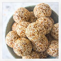 Deliciously Ella Playing around with nut free vanilla and sesame energy balls  Will put the recipe on my blog and app soon