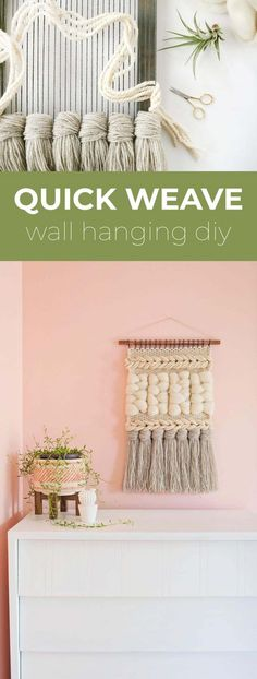 Quick Weave Wall Hanging DIY – A Beautiful Mess – Heather Schwartzmeyer – weberei Weaving Wall Hanging, Weaving Art, Tapestry Weaving, Loom Weaving, Wall Hangings, Macrame Wall Hanging Diy, Tapestry Wall Hanging, Diy Design, Quick Weave