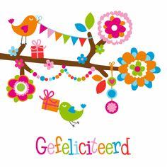 Hippe verjaardagskaart dysyn: tak, vogeltjes, bloemen, slingers, kado