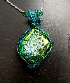 Mermaids Bubbles Dichroic Glass and Colored Copper Necklace