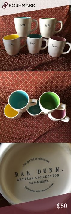 🍽Rae Dunn Mugs 🍽 Rae Dunn Mugs, bundle includes: Wish, Hello, Relax, Laugh, Vacay. Willing to sell separately. All are never used. Rae Dunn Other