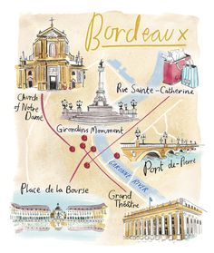 Viking Magazine commissioned Hannah George to illustrate a series of maps for their guide to Dubrovnik and Bordeaux. France Map, France Travel, Paris Travel, Travel Europe, Rocamadour France, Plan Ville, Visit Bordeaux, Sainte Catherine, Pictorial Maps