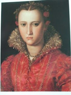 Thought to be Maria de Medici, painted by Alessandro Allori, 1555-57, Florence (Moda a Firenze). Eleonora di Toledo is painted quite often with high-necked partlets, and there are numerous paintings of this period with ladies wearing high necked partlets with and without overgowns.