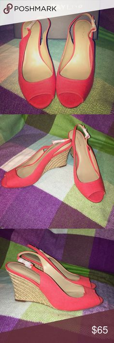 "Ann Taylor ""Aileen Slingback Linen"" wedge Gorgeous wedges in ""orange poppy!"" Upper part made of linen. Brand new, never worn. Tissue paper still on buckles. Comes with box. Ann Taylor Shoes Wedges"