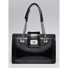 Pre-owned Chanel Black Smooth Calfskin Leather Boy Small Tote Bag (130.370 RUB) ❤ liked on Polyvore featuring bags, handbags, tote bags, pre owned purses, quilted handbags, chanel tote, chanel tote bag and chain strap purse