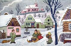 Josef Lada zima v obraze.Josef Lada Winter in the image . Childrens Christmas, Christmas Art, Christmas Greetings, Winter Christmas, Inspirational Books, Winter Scenes, Anime Comics, Silhouettes, Illustrators