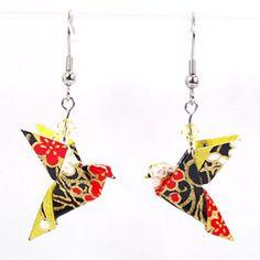 Boucles d'oreilles colombes origami noires et dorées - crochets inox